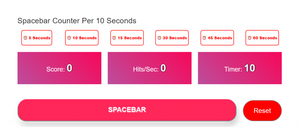 Spacebar Counter Per 10 Seconds