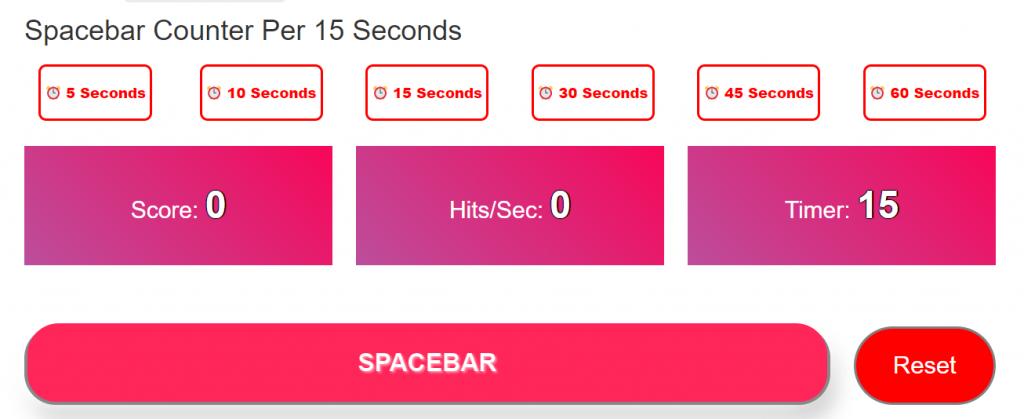 Spacebar Counter Per 15 Seconds