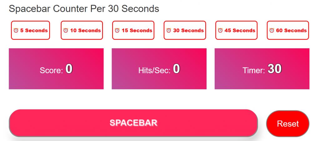 Spacebar Counter Per 30 Seconds