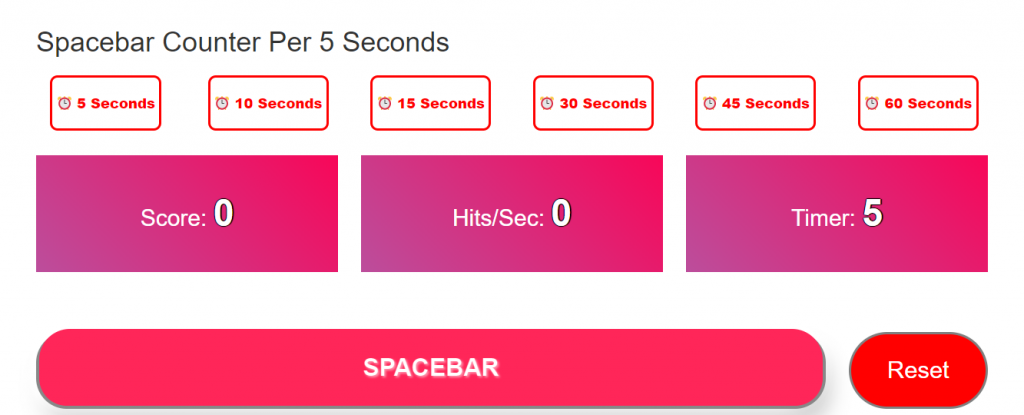 Spacebar Counter Per 5 Seconds