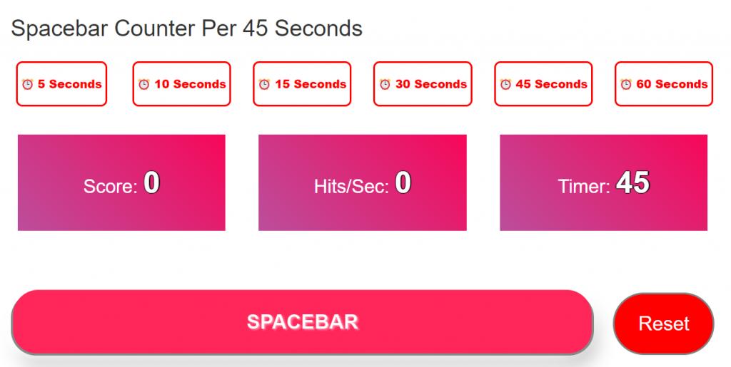 Spacebar Counter Per 45 Seconds